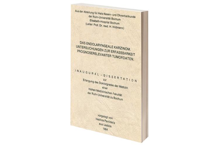 Διδακτορική διατριβή του Dr. med. B. Παυλιδέλη, στο Πανεπιστήμιο Bochum, 1985.